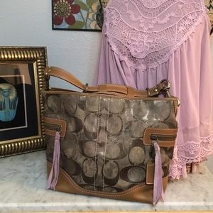 Gorgeous Coach Large Shoulder Bag Metallic Tie Dye